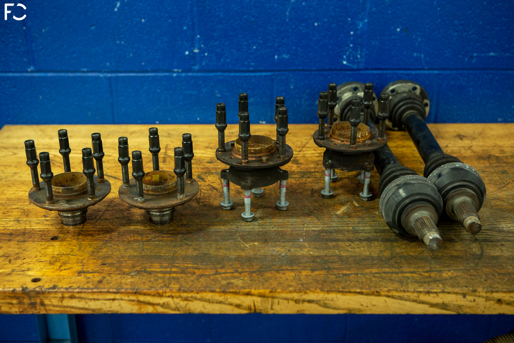 Factory E9X M3 hubs and bearings removed for the M14 retrofit