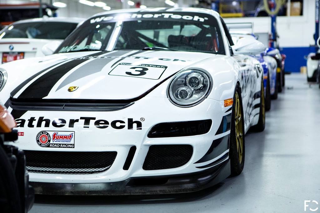 WeatherTech 997 angle view with Future Classic Porsche spacers front and rear