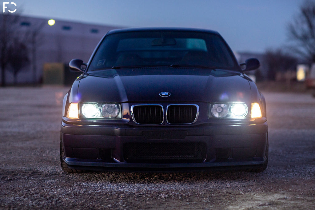 Techno Violet E36 M3 front end photo headlights on
