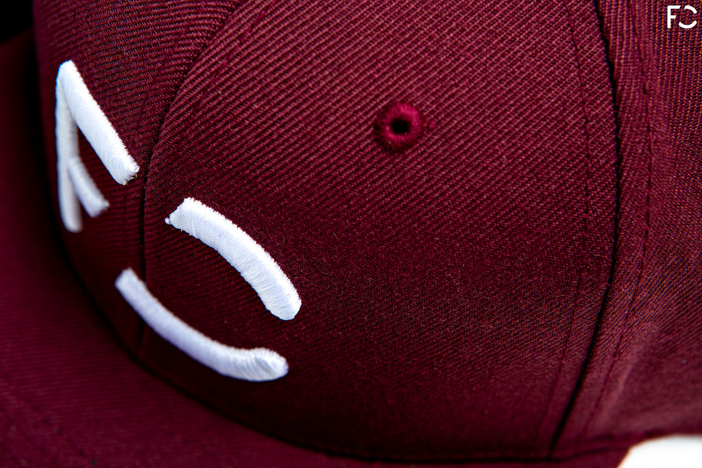 Future Classic 6-Panel hat closeup - maroon overhead view of 3D puff