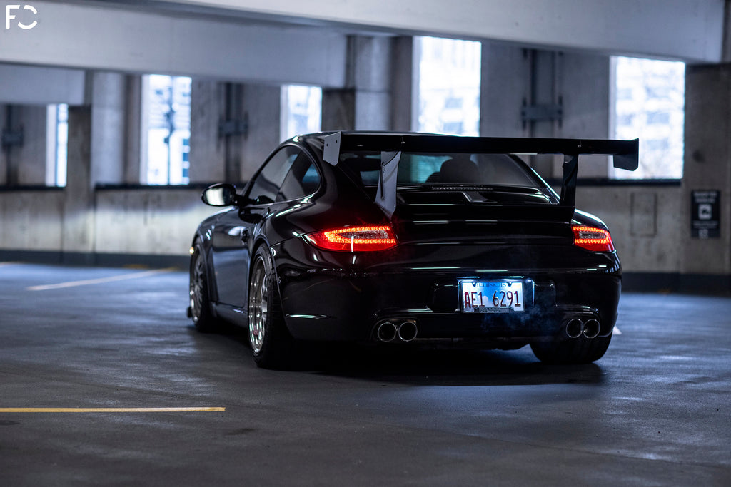 Future Classic Porsche 997.2 Carrera S with OEM GT3 front bumper and Getty Cup Decklid rear shot