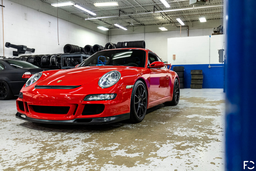 Future Classic Guards Red 997.1 GT3 front angle view
