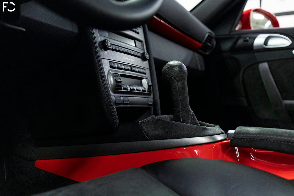 Future Classic Guards Red 997.1 GT3 close up gear shift