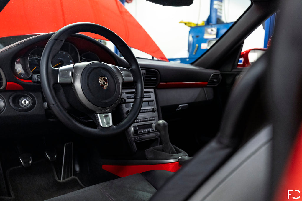 Future Classic Guards Red 997.1 GT3 interior driver's side view