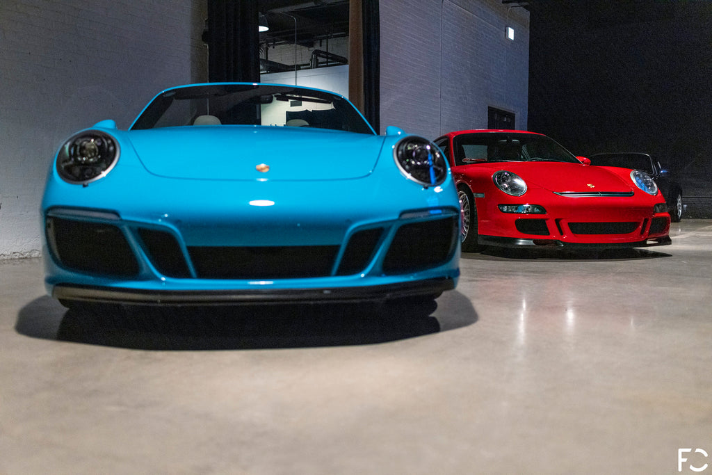 Front view of 991 Carrera and 997 GT3 for Checkeditout Chicago 2021