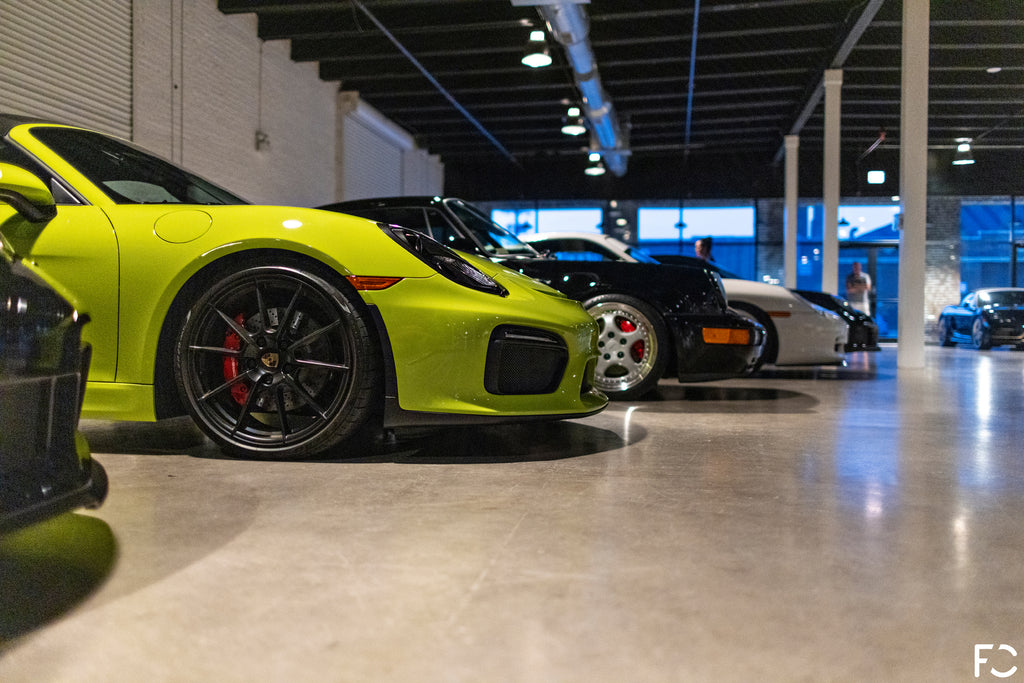 Side view of Peridot 981 Boxster Spyder at Checkeditout Chicago 2021