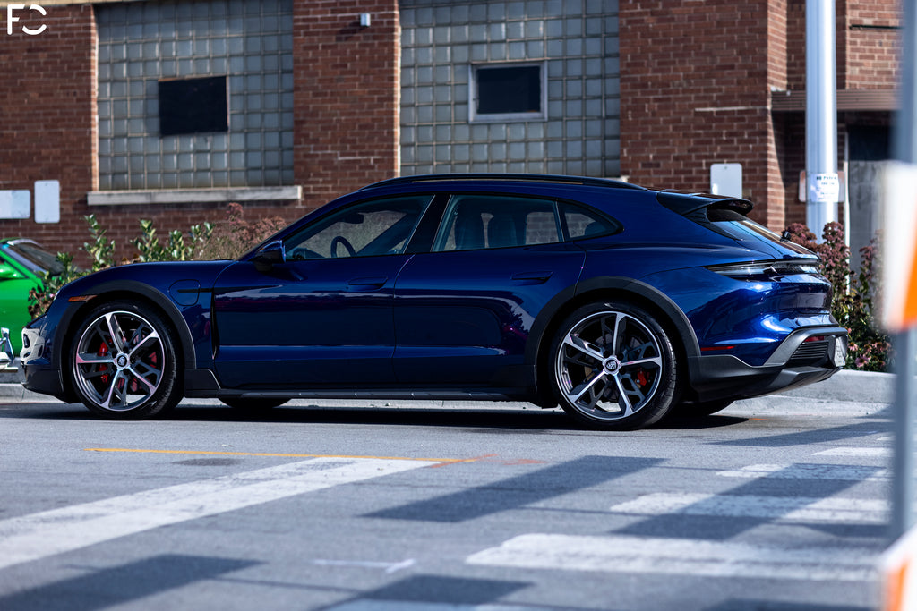 Side shot of Porsche's new Taycan Gran Turismo at Checkeditout Chicago 2021