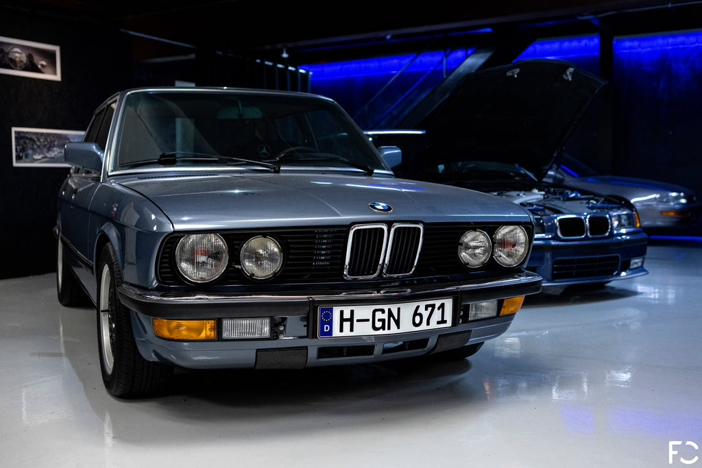 Euro BMW E28 inside the vault of Kassel Performance during the Future Classic shop visit