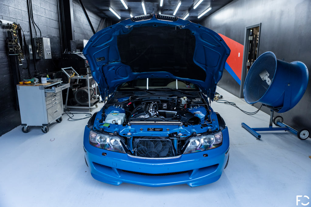 BMW Z3 M Coupe front end photo in Laguna Seca Blue at Kassel Performance dyno room