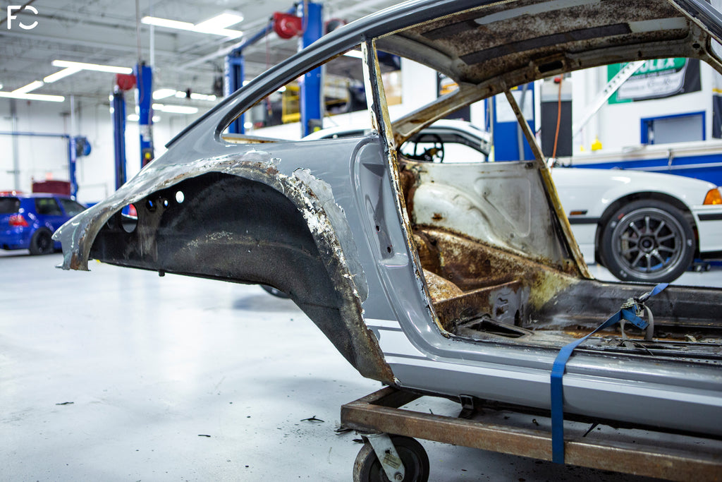 Porsche 911 restoration project - rear quarter panel view at fall-line motorsports