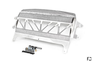Fall-Line Motorsports - F8X (S55) Oil Cooler Underside View in Stainless Steel