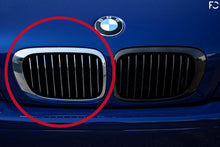 Load image into Gallery viewer, Straight on view of BMW chrome kidney grille versus aftermarket on Interlagos Blue E46 M3