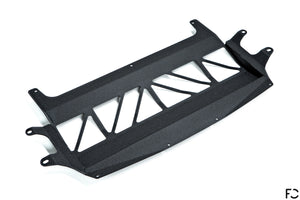 Fall-Line Motorsports - F8X (S55) Oil Cooler Guard Angle View in Wrinkle Black