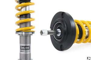 Ohlins Road and Track coilover for Porsche 987 Cayman range - Close up of spring adjuster and rear shock mount