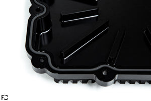 Fall-Line Motorsports Aluminum DCT Oil Pan close up overhead view showing Viton O-Ring channel