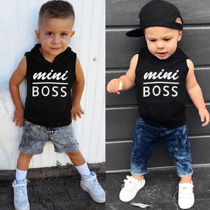 Hot Fashion For Cool Kids Boys Baby Clothes Summer Letter Hoodie T-Shirt Tops Mini Boss Boy Casual