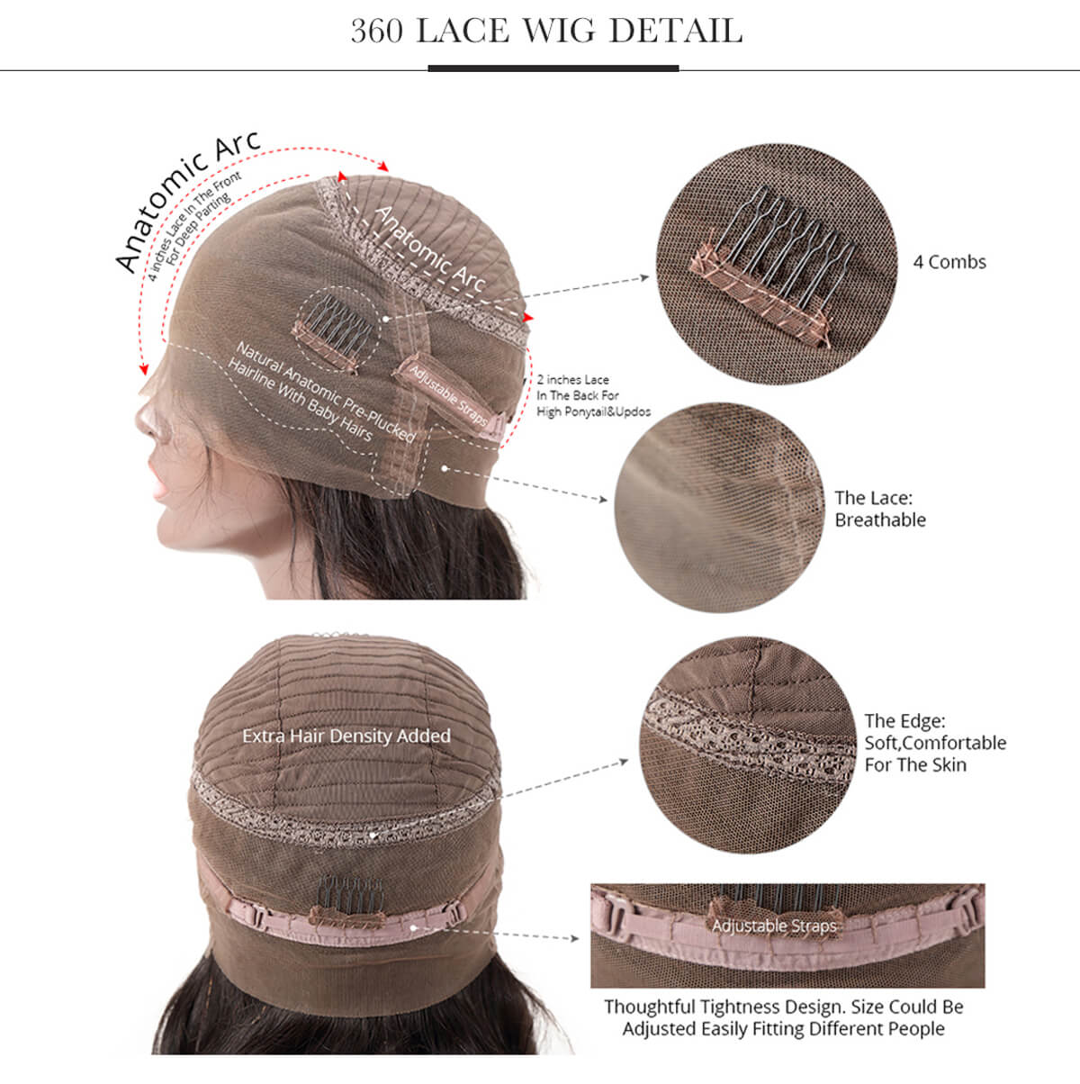 360 Lace Front Wig Detail Tuneful Wig 100% Human Hair Wig
