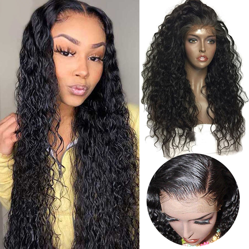 13x4 Lace Front Human Hair Wigs Water Wave Pre Plucked Tuneful 150% 180% Density Brazilian Remy Human Hair Wig
