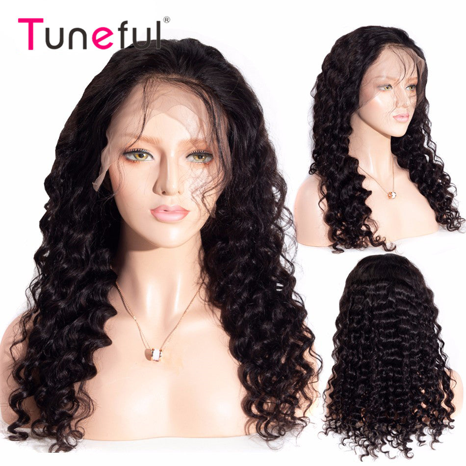13x4 Lace Frontal Human Hair Wigs Loose Deep Wave150% 180% Density  Pre Plucked Brazilian Wavy Remy Human Hair