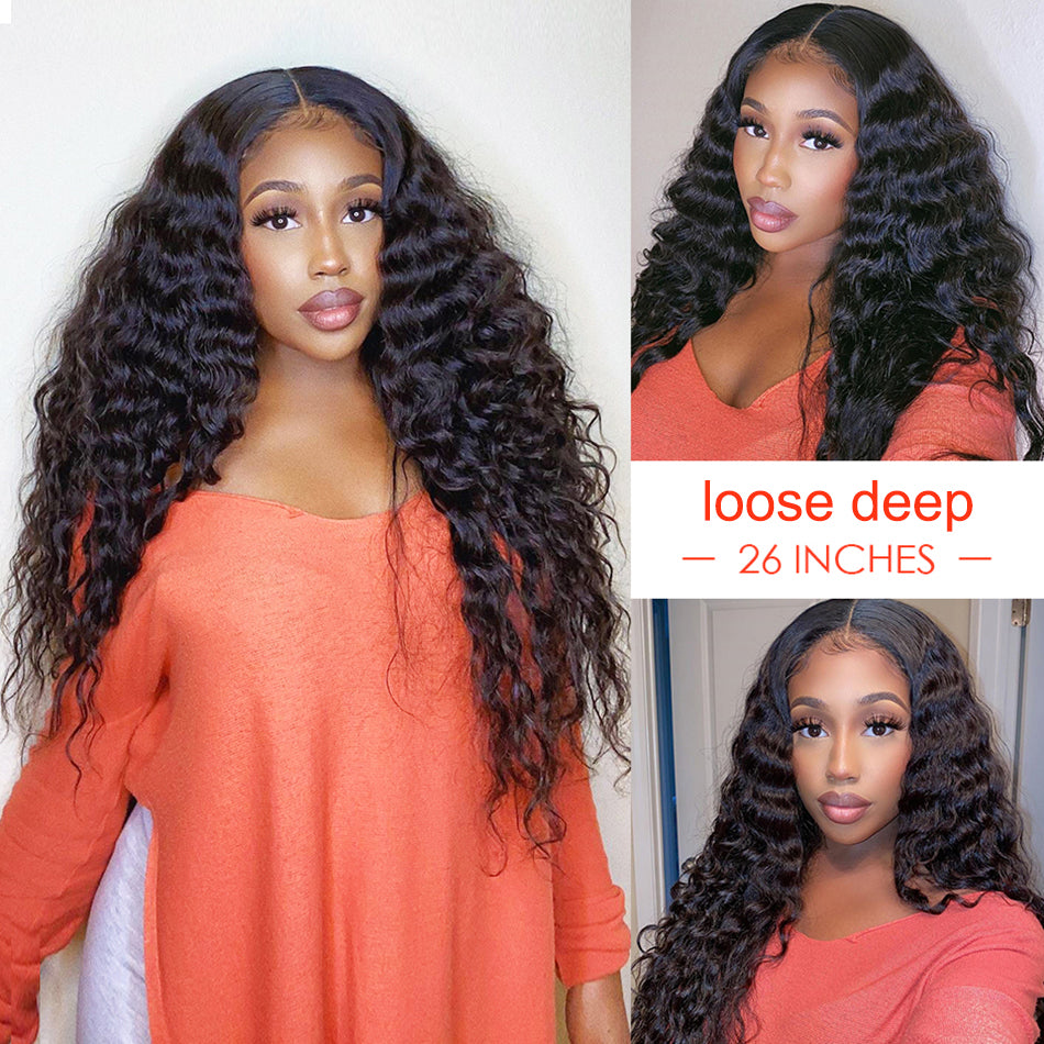 Lace Front Human Hair Wigs Loose Deep Wave 150% 180% Density Raw Indian Remy Lace Frontal Wigs