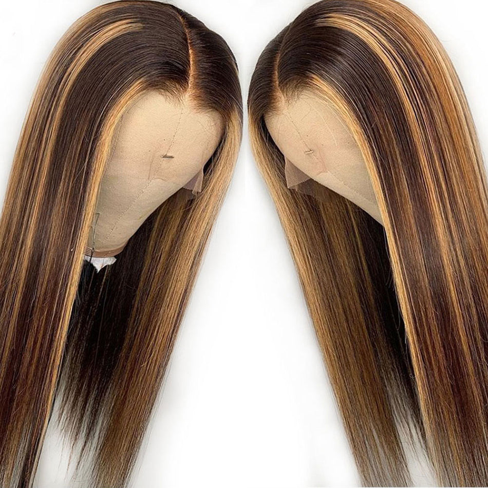 Premium 13x4 HD Lace Front Wigs Highlight Straight 180% Brazilian