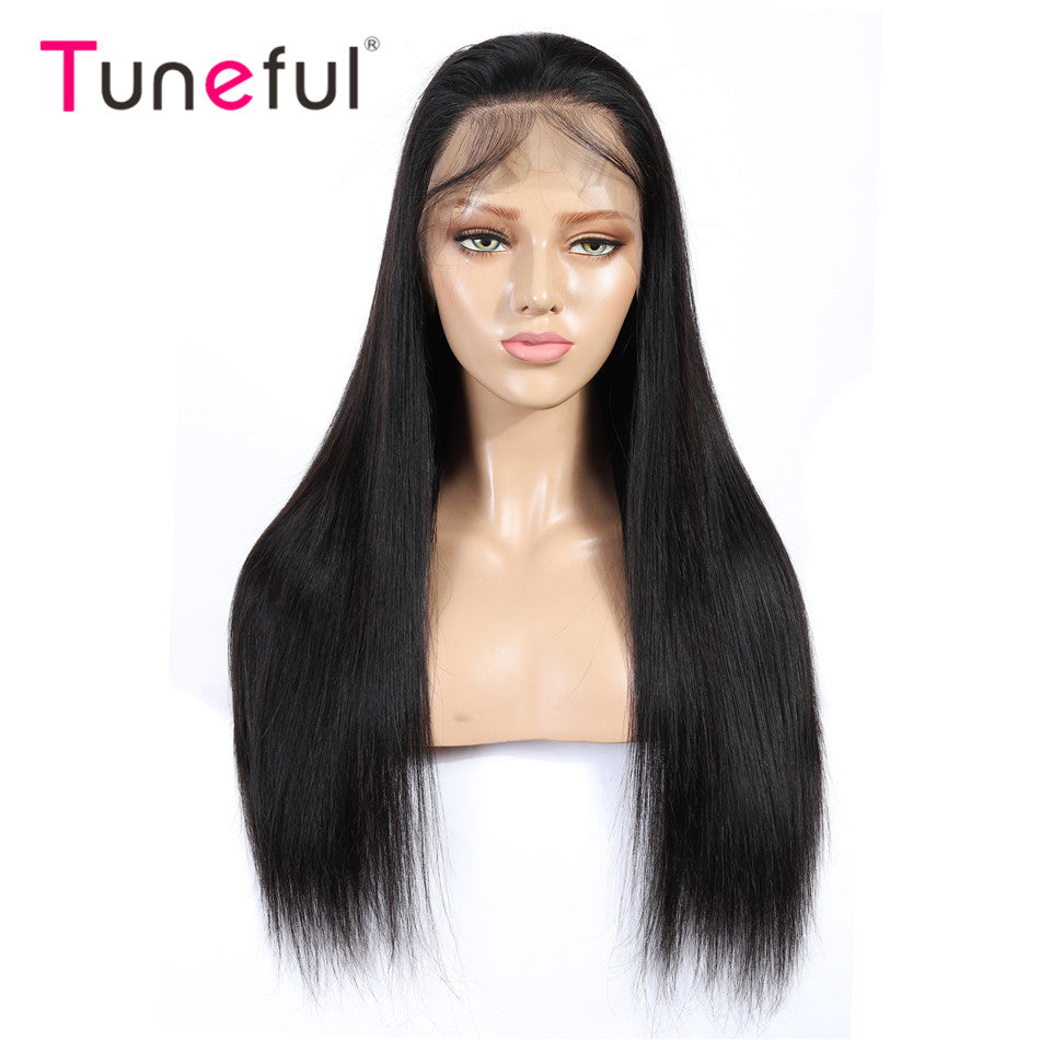 13x4 Lace Front Human Hair Wigs Straight Pre Plucked Tuneful 150% Density Brazilian Remy Human Hair Wig