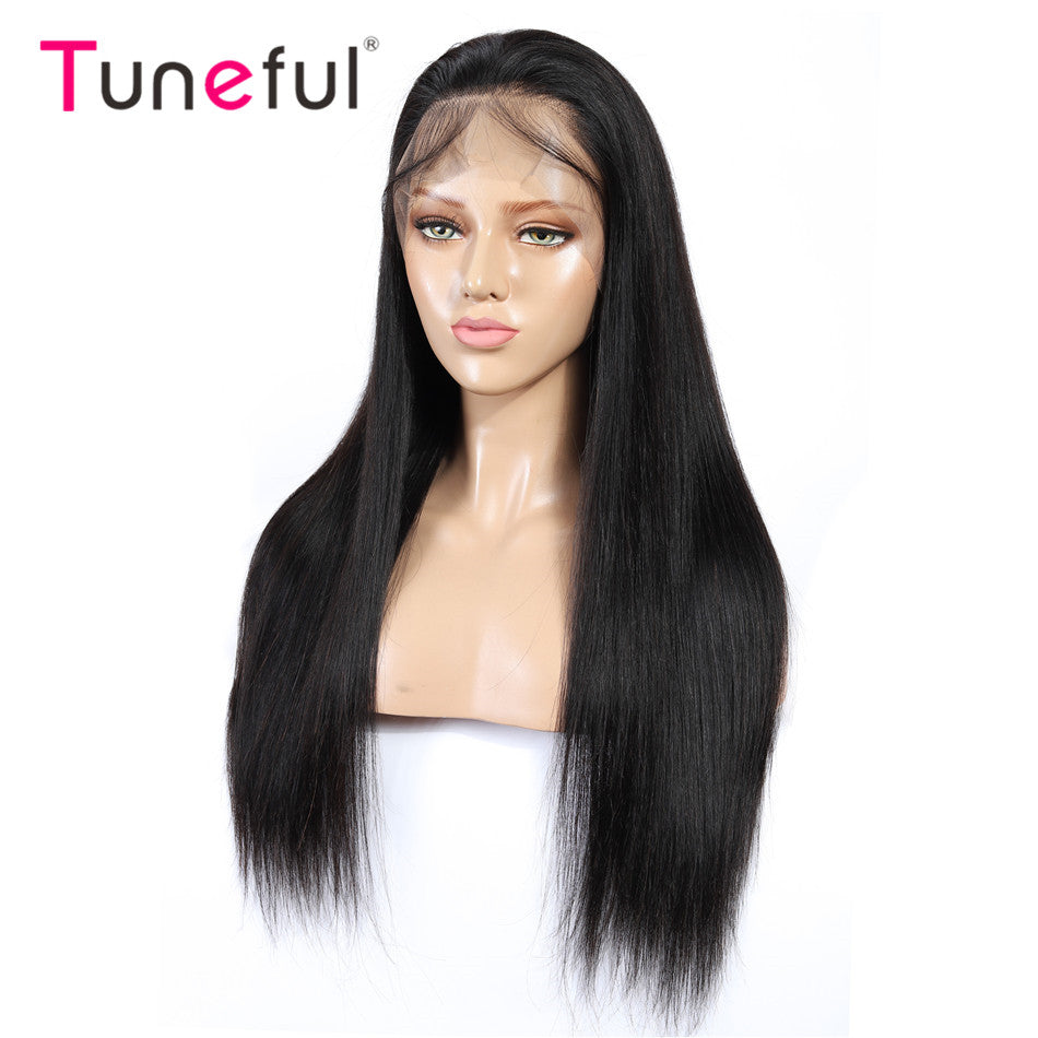 13x4 Lace Front Human Hair Wigs Straight Pre Plucked Tuneful 150% Density Raw Indian Remy Human Hair Wig