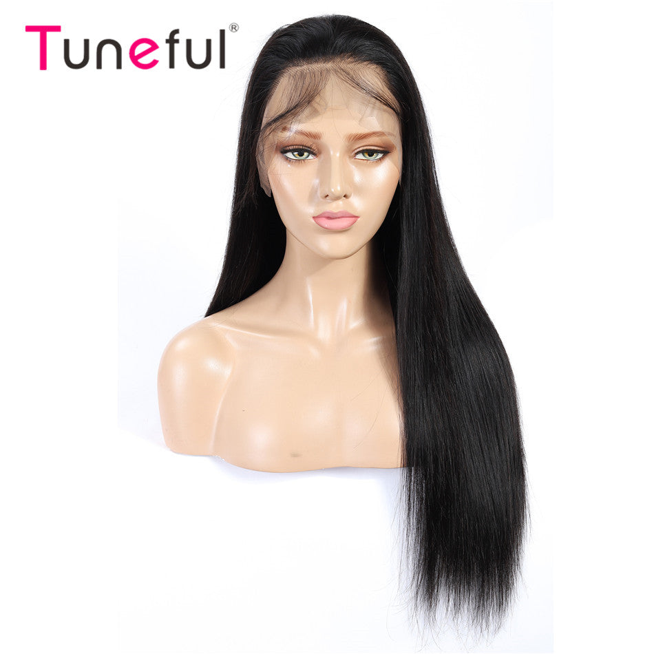 Straight Pre Plucked Tuneful 150% Density Brazilian Remy Human Hair Wig Lace Frontal Wigs For Women