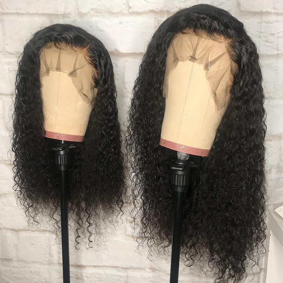 13x4 Lace Front Human Hair Wigs Curly Pre Plucked Tuneful Malaysian Deep Curly Human Hair Wig HD Lace Frontal Wigs