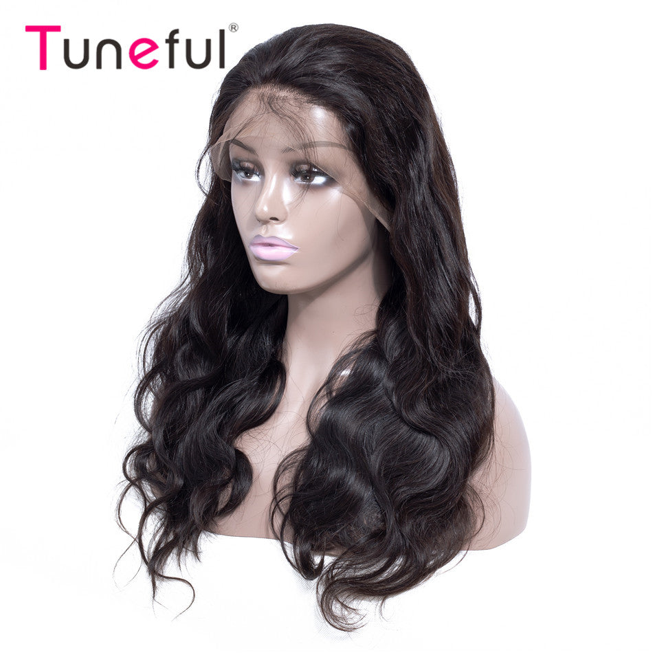 Tuneful 150%Density Raw Indian Remy Human Hair Wig Lace Frontal Wigs For Women