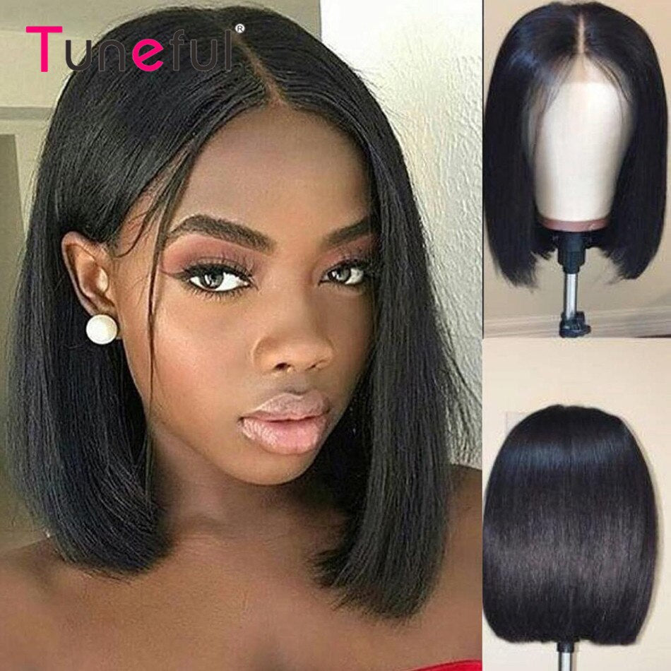 13x1 T Part Short Bob Wigs Straight 150% Brazilian Remy Lace Frontal Human Hair Wigs For Women