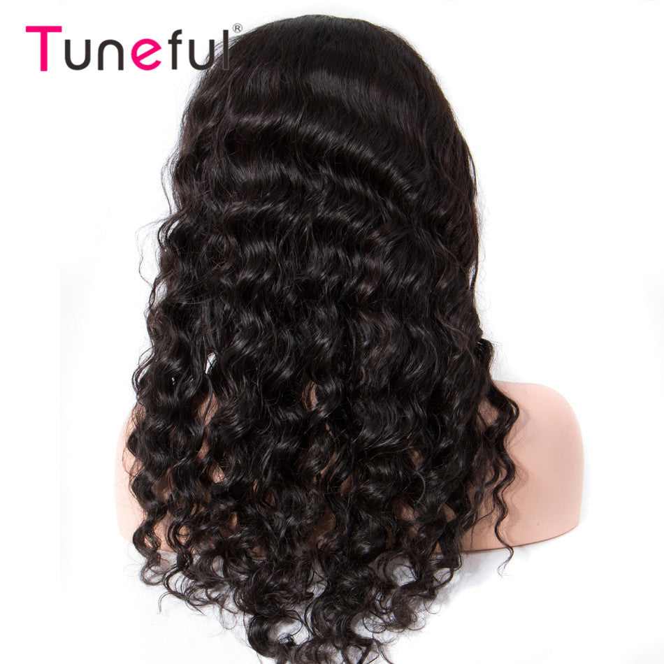 Loose Deep Wave 150% 180% Density Raw Indian Remy Lace Frontal Wigs For Women