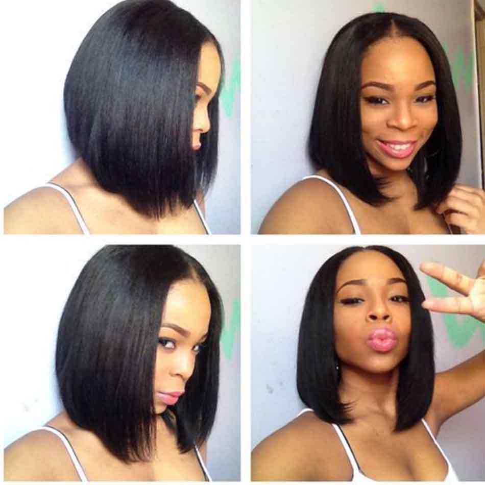 pre plucked natural hairline with baby hair glueless short bob wigs human hair