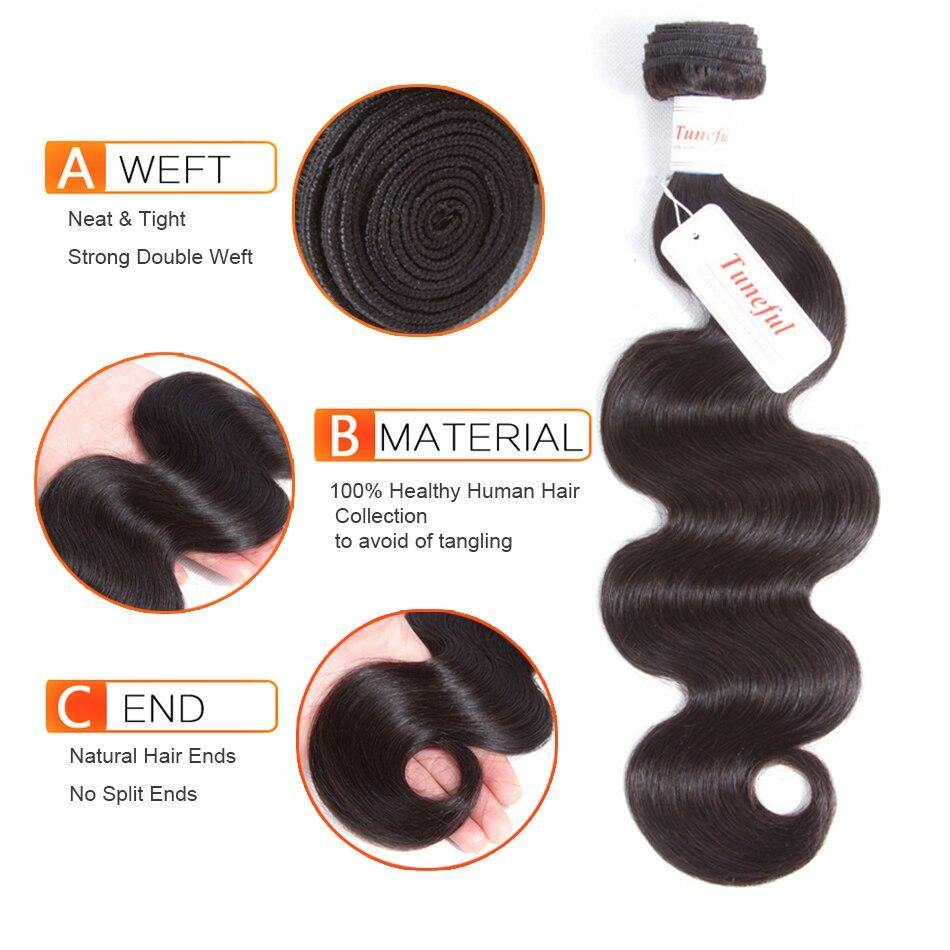 Tuneful Brazilian Body Wave Hair 3 Bundles Remy Hair Weft Weave Extensions Natural Color Can By Dyed 100% Human Hair Bundles - Tuneful Hair