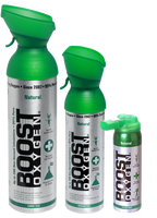 The three different sized boost oxygen cans - Large, Medium and Pocket sized