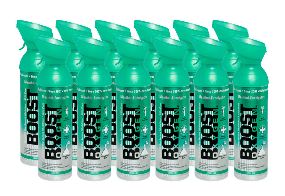 Boost Oxygen Menthol-Eucalyptus 200 Breath (Large Size) - 12 Pack with Free Postage