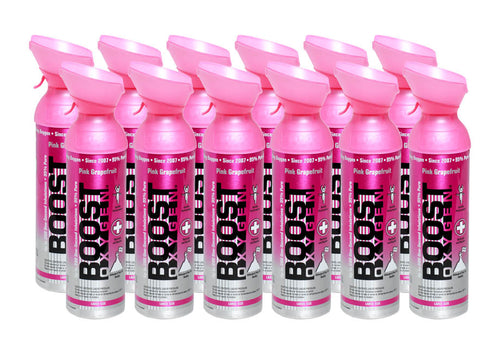 Boost Oxygen Pink Grapefruit 200 Breath (Large Size) - 12 Pack with Free Postage
