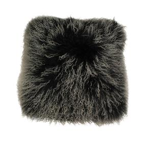 Mongolian Fur Frost Black Cushion