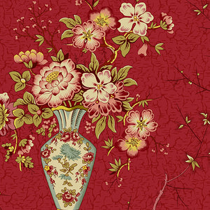Vase i farven Crimson fra kollektionen Anne's English Scrap Box af Di Ford for Andover Fabrics