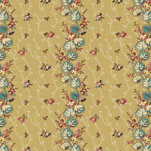 Floral Stripe i farven beige fra kollektionen Anne's English Scrap Box af Di Ford for Andover Fabrics