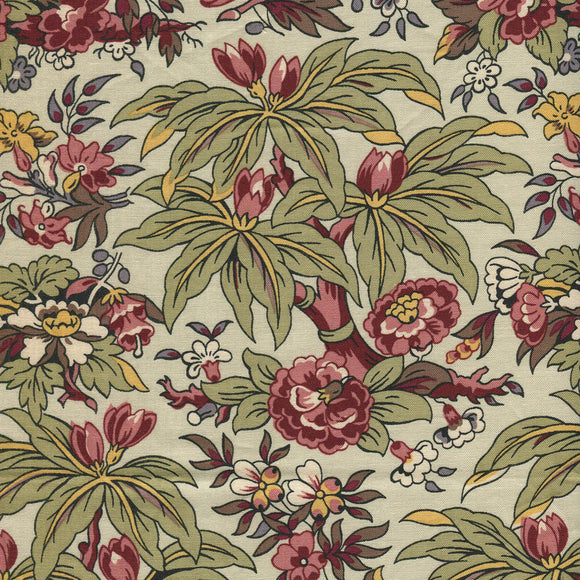 Chintz med store blomster og blade - Antique Welsh Chintz af Antique Textiles Company London