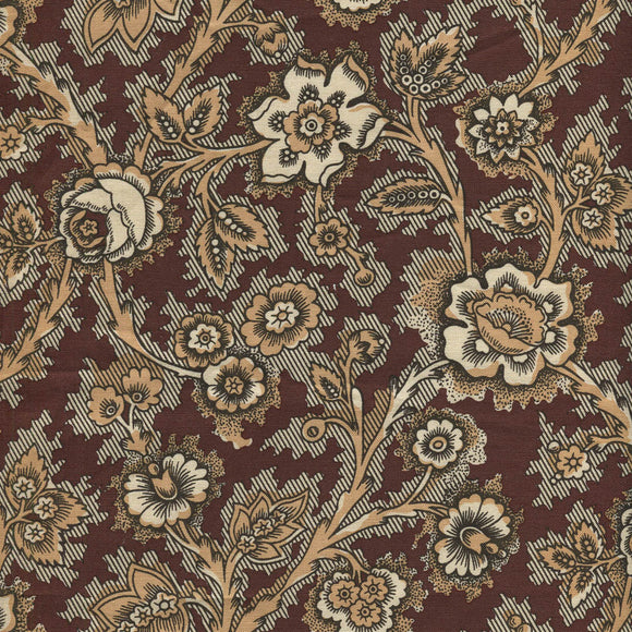 Brun Blossom on curve  - Antique Welsh Chintz af Antique Textiles Company London