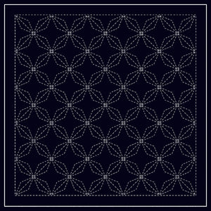 Sashiko sampler Traditional Design Hana-bishi Navy