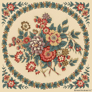 Windermere panel i farven teal af Di Ford for Andover Fabrics