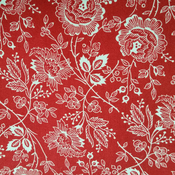 Red large flowers fra kollektionen Lancaster af Sara Morgan for Blue Hill Fabrics