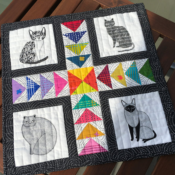 Mini kattequilt - gratis mønster til download