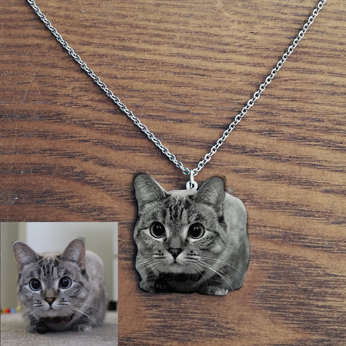 Custom Pet Photo Necklace Stainless Steel Custom Engraved Necklaces For Men Women Gift Nameplate Pendant Choker Dropshipping