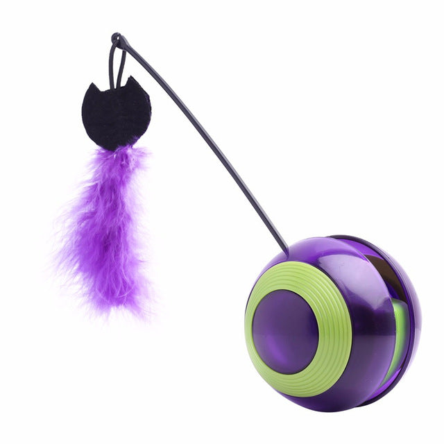 Interactive Feathered Tumbler Cat Toy With Sound
