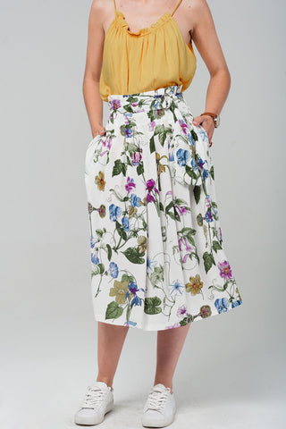 Floral Midi Skirt In White Womens Fashion - Clothing
