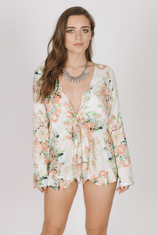 Image of Garden Party Tie Romper Women - Apparel Shirts Tunics